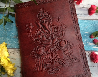 GANESH JOURNAL - Leather Journal - Embossed Journal - Student - Leather Notebook - Sketch book - Handmade - Vintage leather - Boho