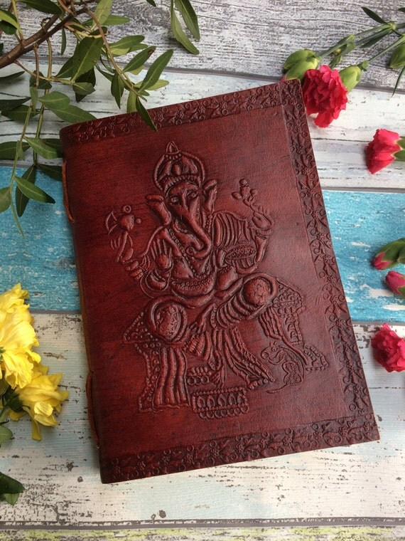 GANESH JOURNAL - Leather Journal - Embossed Journal - Student - Leather Notebook - Sketch book - Handmade - Vintage leather - Boho