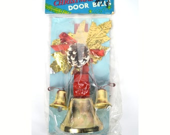 Vintage Brite Star Christmas Door Bells Decoration New in Package Red Ribbon Gold Leaves Frosted Pinecone