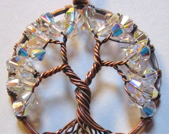 Tree of Life, Tree Aurora Borealis Swarovski Crystal and Antiqued Copper Wire Wrapped Tree of Life Pendant