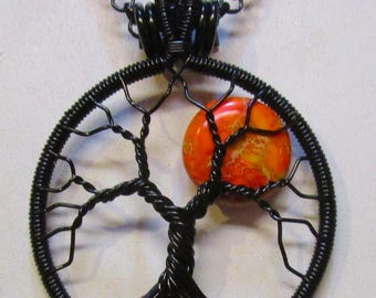 Wrapped Tree of Life, Orange Sea Sediment Jasper Moon Tree, Bright Orange Full Moon Tree of Life Necklace, Peridot Roots