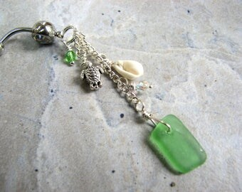Beach Belly Button Rings with Green Sea Glass, Sea Shell and Tiny Sea Turtle Charm, Long Beaded Belly Bar, Seaglass Bellybutton Rings
