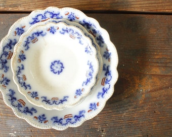 Antique Flow Blue Plate Collection of Plates Wall Collage Blue Transfer Ware Porcelain China