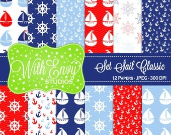 SALE  Nautical Digital Scrapbook Paper Pack - Sailing Scrapbook Paper Set - Boat Scrapbook Paper - Red White Blue Paper - Commercial Use