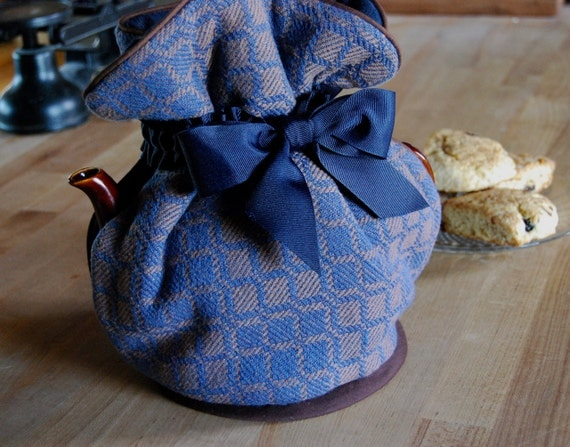 Handwoven Tea Cozy- Denim Blue and Brown Squares