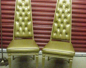 Fabulous Mid Century Skyscraper Tower Trapezoid Chairs, Pearsall Style, 60s Chromodern, Matched Pair