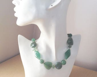 Green Aventurine Statement Hand Knotted Stone Necklace
