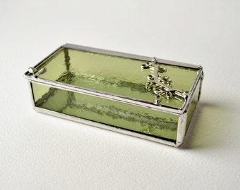 Light Olive  Green Glass Box, Glass Box, Glass Display Box, Glass Jewelry Box, Jewelry Box, Gift For Girlfriend, Bridesmaid Gift