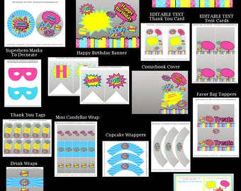 Superhero Girl Birthday Party - Superhero Party - Girl Birthday Party Decorations - INSTANT DOWNLOAD Printable Party With Editable Text