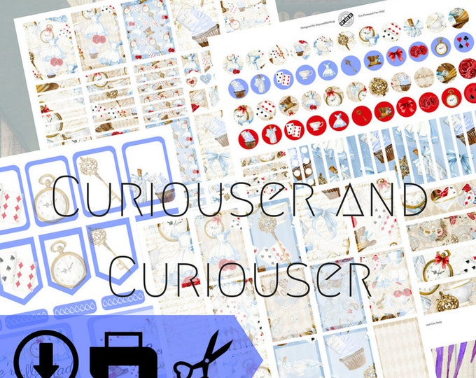 Curiouser and Curiouser Digital Planner Kit Download Stickers | Watercolor | Alice in Wonderland | Digital art | Planners