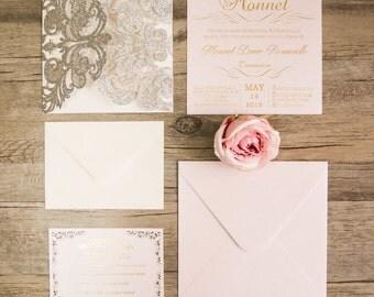 Glitter Wedding Invitations. Lasercut Wedding Invitation. Elegant Wedding. Laser Cut. Silver and Blush.  Silver Glitter Invitation.