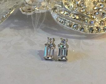 Emerald Cut & Baguette Posted Dangle Drop Earring Wedding jewelry, Diamond Sterling bridesmaid earrings