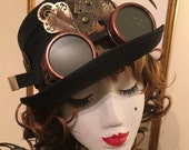 Steampunk style black top hat feather goggles victorian Edwardian wedding