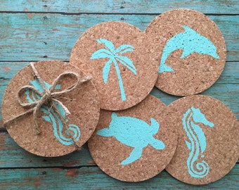 Caribbean Bar Coaster Set, Beach Coasters, Beach Coaster Set,  Coastal Coaster Set, Cork Coaster Set, Beach Coasters, Tropical Coasters