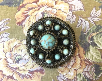 "Pretty Bohemian Look Vintage Brooch with Turquoise Colored ""Stones"""