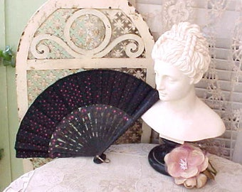 Lovely and Unusual Spanish Style Antique Ladies Hand Fan with Carved Wooden Sticks