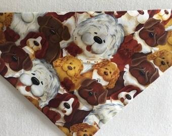 Mixed Puppies Tie On Doggie Bandana