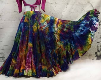 Tribal belly dance skirt-tie dyed, ATS, SCA, fusion,tribal style belly dance, bohemian heavy on the orange