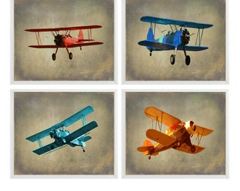 Vintage Airplane Art - Baby Boy Nursery Wall Art , Big Boy Room, Vintage Art, Biplane Art, Plane Print, Playroom Home Decor, Photograph