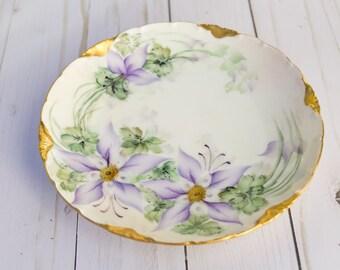 """Antique Versailles Bavaria Purple Floral 7"""" inch Plate"""