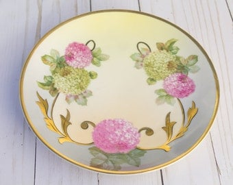 Antique Turin Bavaria Hand Painted Hydrangea Floral Plate