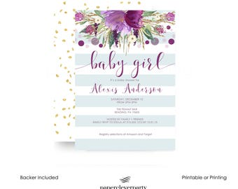 Sparkly Baby Shower Invitation Purple Floral and Stripe - Girls Sprinkle - Tea Party - Bridal - Custom Invitation - Printable - Printing