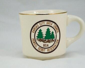 Vintage Boy Scout Mug, Kansas City Area Council Powell Scout Reservation BSA, Tea Mug, Coffee Mug, Vintage Coffee, Vintage Tea