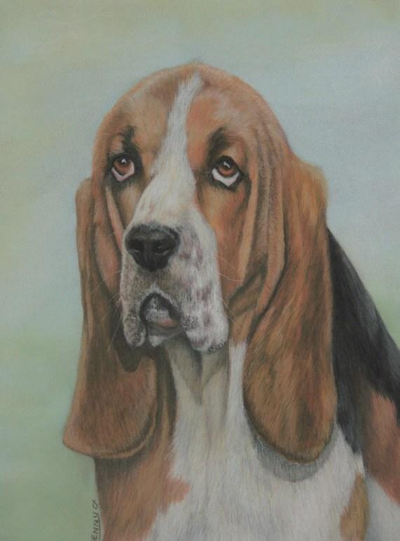 Dog art, pastel painting, collectible print, dog art print, dog painting, The Basset Case, Basset Hound art, fine art giclee print,