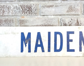 Vintage Street Sign Road Sign Metal White Blue Industrial Decor Maiden Street