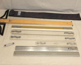 7 Keuffel Esser Staedtler Mars Universal Drafting Rulers-T Square Architect Tools Straightedge Metal-Wood-Acrylic