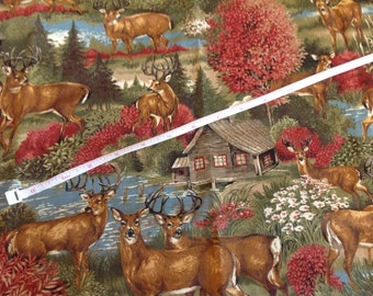 "VIP Fabrics Cabin By The Lake with Stag Unique Fabric 38"" by 37"""