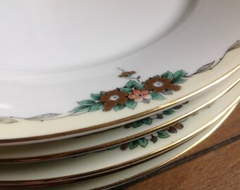 5 TK Thun Bohemia Czechoslovakia Dinner Plates with Pale Yellow Trim and Gray Laurel Leaves Gold Cluster Flowers and Gold Trim