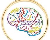 Brain Cross Stitch, Rainbow Brain, Cross Stitch Kit, Colorful Cross Stitch, Modern Brain Pattern, Beginners Stitching, Science Stitch Kit
