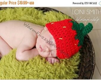 SALE 20% OFF Baby Strawberry Hat - Crochet Newborn Beanie Boy Girl Costume Preemie Halloween  Photo Prop Christmas Gift Winter Outfit