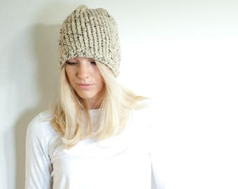 SPRING SALE the LENOIR hat - chunky knit womens slouchy hat beanie - oatmeal