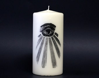 Candle - Eye of Providence - White - Occult -  All Seeing Eye