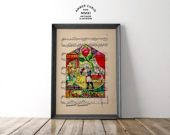 Tale As Old As Time Beauty and the Beast Fairy Tale Glass Pane Print on an Anituqe Up-Cycled Book Page Unframed Digital Artwork
