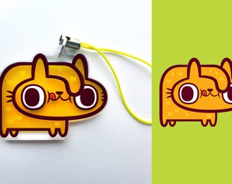 Acrylic Cute Silly Durp Derp Goofy Funny Cat Kitty Charm Keychain with Phone Strap