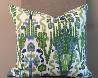 Kelly Green, Blue and White Ikat Pillow Covers / Designer Fabric in Bombay Kelly