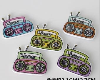 """30 PC Painted wood buttons 31mm - Wooden Buttons ,buttons, natural wood buttons """"radio"""" A103"""