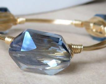 "Denim Blue Crystal Bangle Bracelet ""Bourbon and Bowties Inspired"""