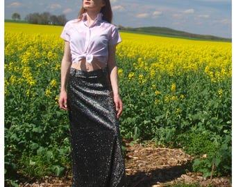 Vintage Lurex Maxi Skirt Black Silver Small Formal Boho