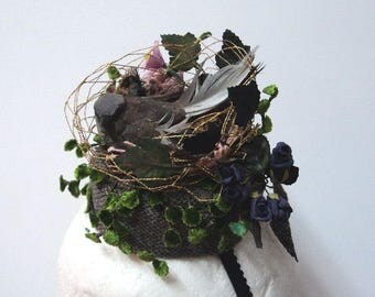 Birds Nest Tweed Pillbox Hat with Nesting Sparrow and Paper Flowers