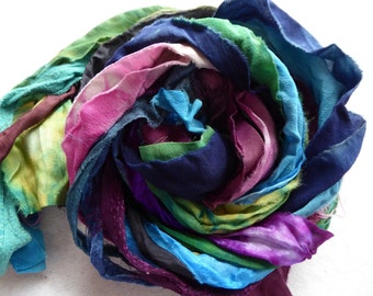 15 hand dyed silk ribbons approx 1m each mix of texture/colour - FR82