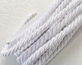 Twisted cord, 1.1 yard white , 10 mm satin twist cord, twisted , Wrapped Thread Cord, Decoration,Fabric Rope Trim Accent for Crafting