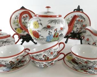 Oriental Tea Set, Vintage Teapot, Sugar Bowl Milk Jug, 4 Porcelain Teacups, Hand Painted, Rust Green Blue, Vintage by TheSweetBasilShoppe
