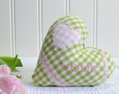 Gingham hanging fabric heart, ready to hang , bedpost and door knob hanger, green and pink valentine home decor