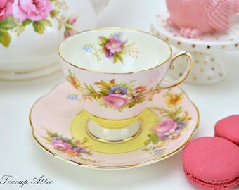 E.B Foley Two Tone Pink And Yellow Teacup and Saucer Set, English Bone China Tea Cup, ca. 1948-1963