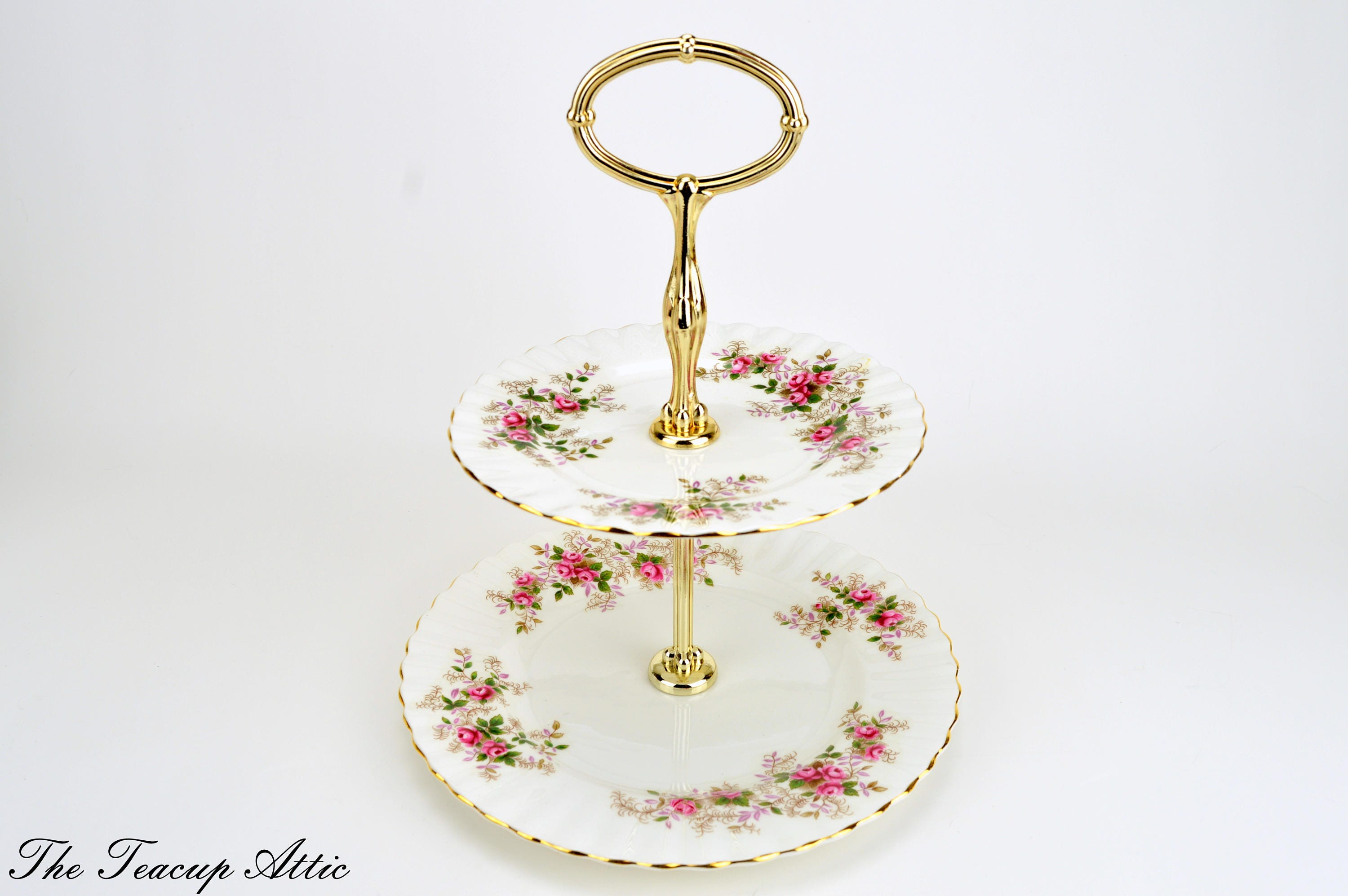 Royal Albert Lavender Rose 2 Tier Dessert Tray, Vintage Bone China Cake Stand, Replacement China, ca. 1961