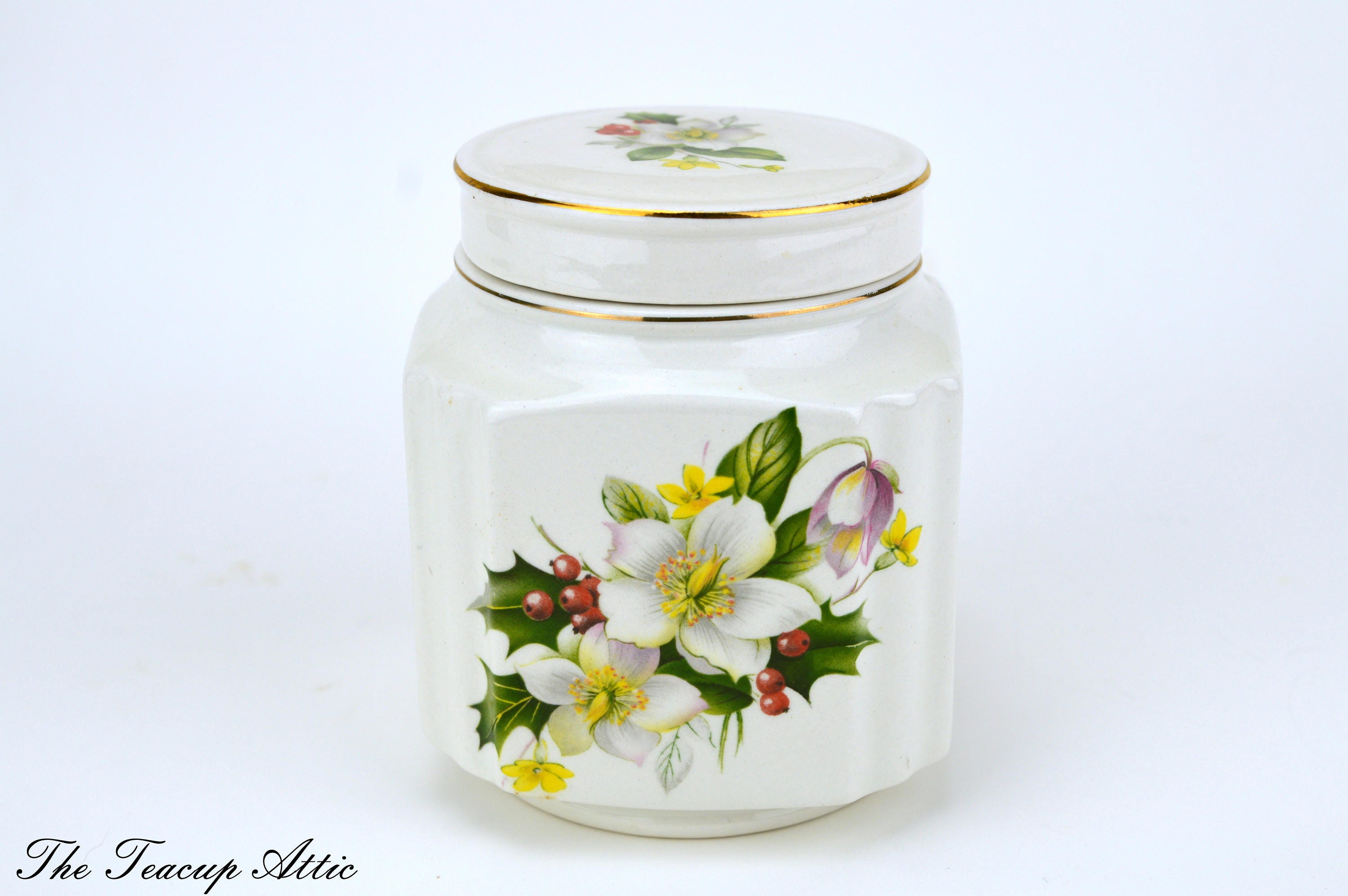 Sadler Vintage Ginger Jar, Porcelain Tea Caddy, ca. 1940